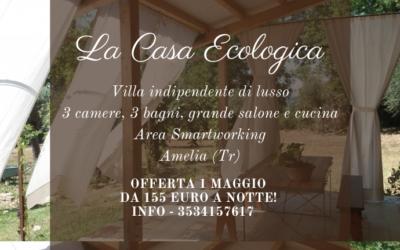 Ponte 1 MAGGIO in Villa Ecosostenibile per 10 persone in Umbria